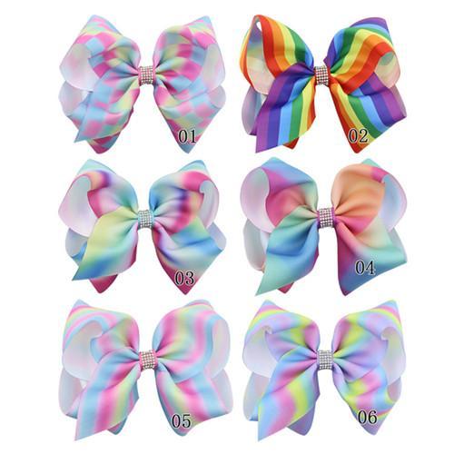 8 Pulgadas JOJO Bow Con Rhinestone Bowknow Pinza de Pelo Diseño de Arco Iris Headwear Chica Clippers Hecho A Mano Moda Accesorios para el Cabello Envío Gratis