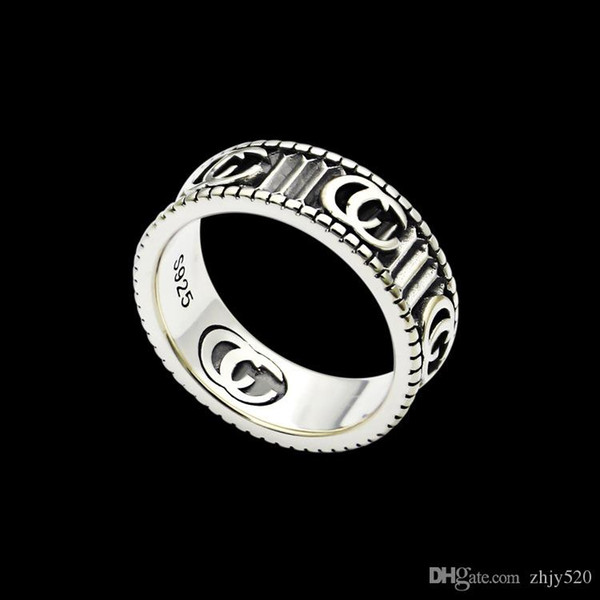 best selling 2020 New high quality Width 6mm fashion brand vintage ring engraving couples ring wedding jewelry gift