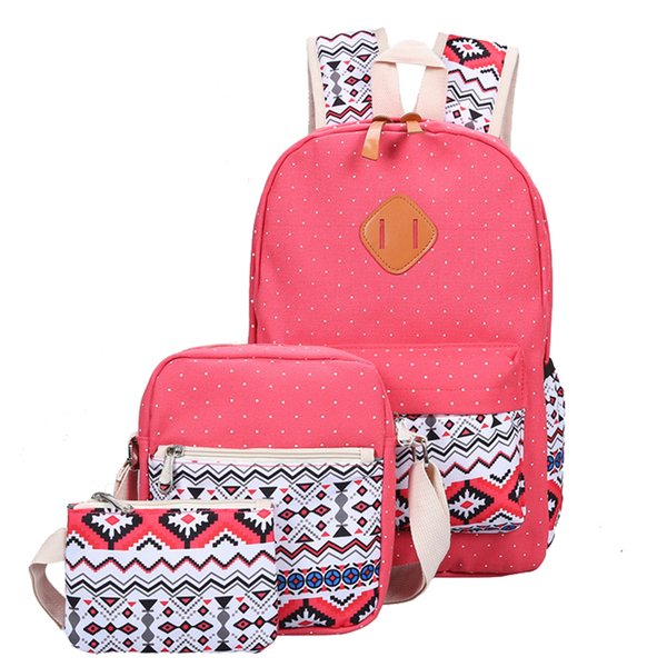 3 Pcs/Set Fashion Women Canvas Backpack Printing School Bags For Teenage Girls Cute Book Bags Laptop Backpacks Student