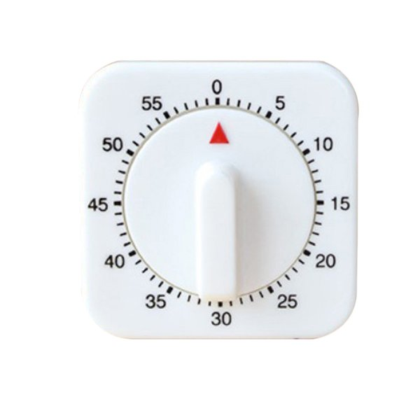 Kitchen Timer 60 Minutes Count Down Alarm Reminder White Square Mechanical Timer Home Baking Tools