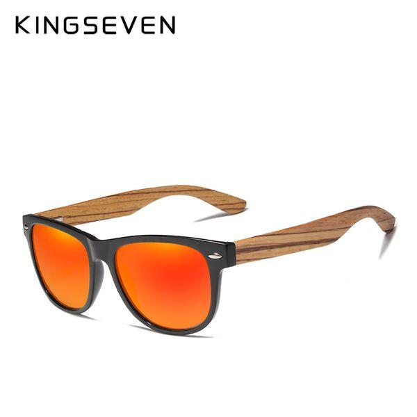 Kingseven 2019 Zebra Natural Wood Polarized Sunglasses Mirror Lens Retro Wooden Frame Women Driving Sun Glasses Shades Gafas Mens Eyeglasses Sport