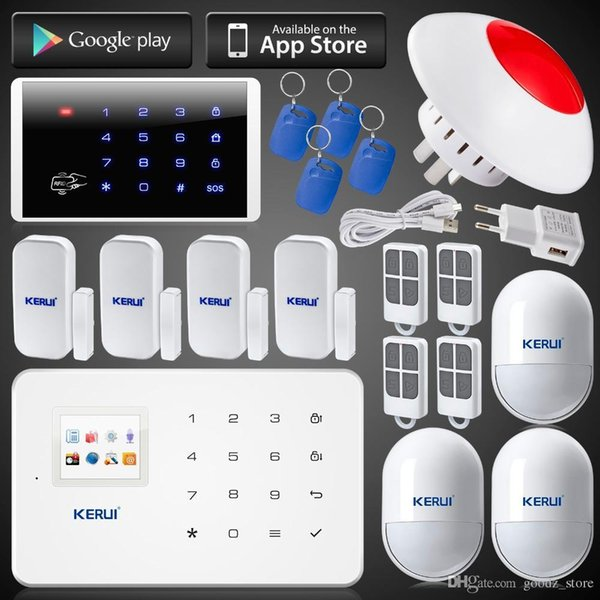 LS111- App remote control GSM home alarm system kit with wireless fire/smoke detector 3 curtain pir 4 door/window sensor Easy Operation