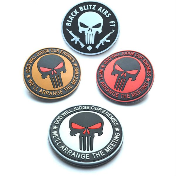 Punisher GOD WILL JUDGE OUR ENEMIES PVC Tactical Patches Badges for Clothes Clothing Hat 8CM