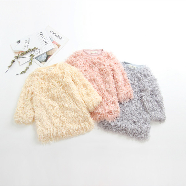 best selling Kids Baby Clothes New Styls Children Sweaters Tops Autumn Winter Girls Imitation Fleece Plush Sweaters Girls Long Style Loose Pullovers