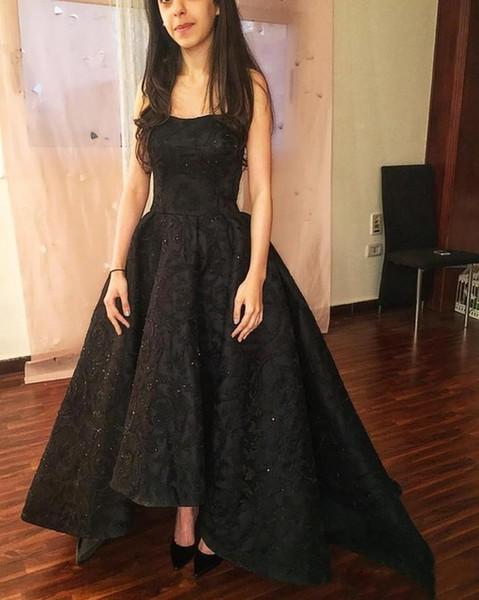 vestidos de fiesta Stunning Black Prom Dresses Long Scoop Neck Elegant High low lace beaded Women Formal evening wear Party Gown 2019
