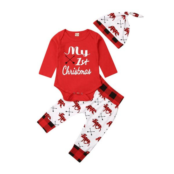 3Pcs Lovely Kids Baby Girl Boy My First Christmas Clothes Letter Romper Elk Pants Hat Outfits Xmas Set 0-18M