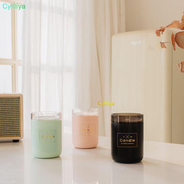 280ML Candle Humidifier Ultrasonic Air Humidifier Soft Light