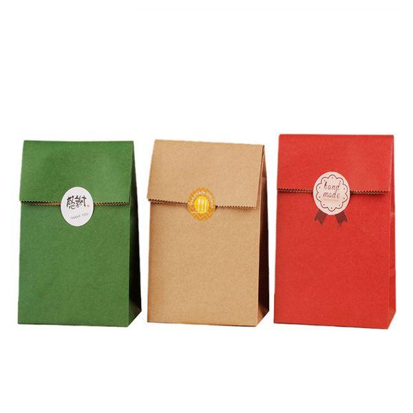 sac en papier kraft rétro protection de l'environnement carré logo personnalisé fond spot sac cadeau de Noël de gros bonbons sac de chocolat
