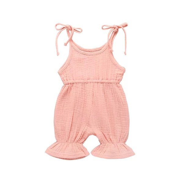 Baby romper Hot sale Summer children's boutique clothing jumpsuit for girls cute sling one piece jumpsuit solid baby clothing 6colors