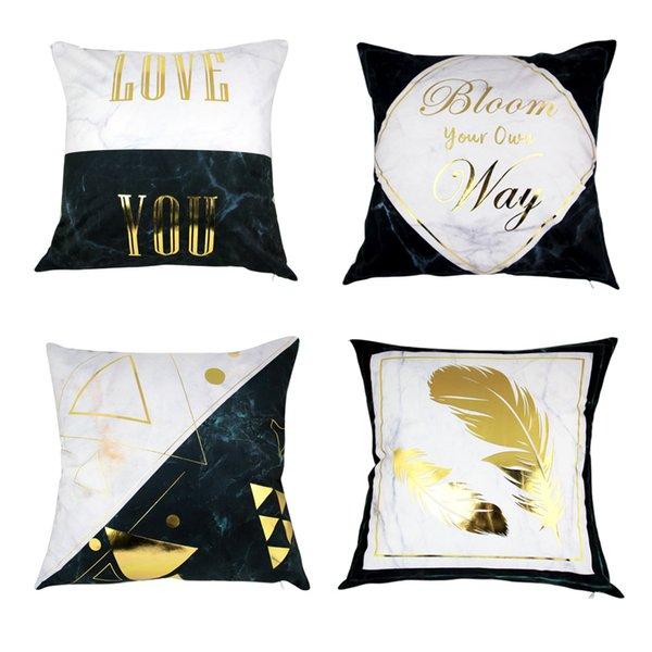 Einfache Marmorkorn Gold Bronzing Stempel Kissenbezug Auto Sofa Kissenbezug Retro Luxus weiche Baumwolle Polyester nach Hause dekorative Kissenbezug