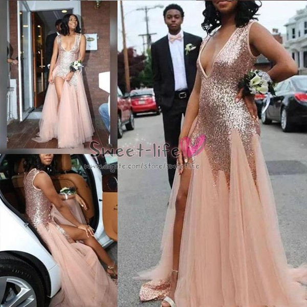 2019 Blush Pink Prom Dresses Sparkly Sexy Deep V Neck Sequins Tulle Mermaid Evening Gowns High Split Cocktail Formal Party Dress Custom Made