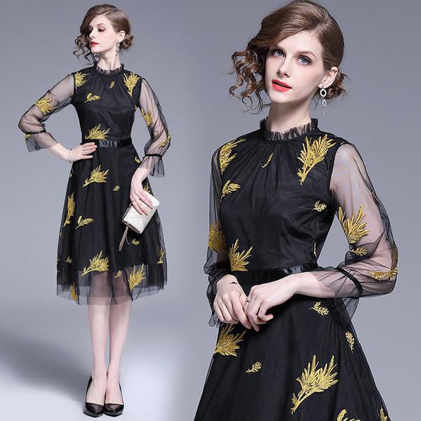 Элегантные платья для женщин Высококачественная золотая проволока Цветочная вышивка Модные женские вечерние коктейльные выпускные платья 863