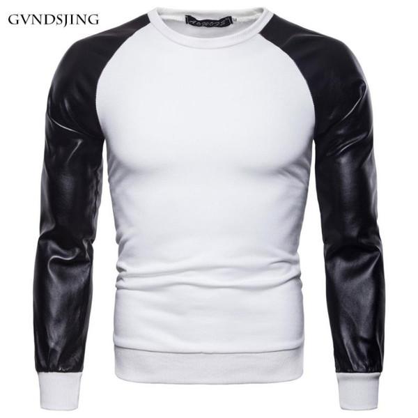 mountainskin pu leather patchwork men's long sleeve t shirt 3xl autumn fashion coats men outerwear o-neck male clothing slim fit