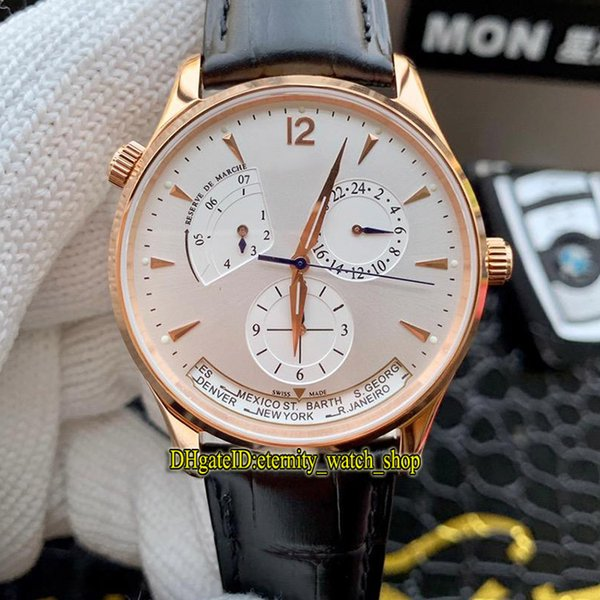 High Quality Master Geographic 1422521 White Dial Power Reserve Japan Miyota Automatic Mens Watch Rose Gold Case Leather Strap Gents Watches