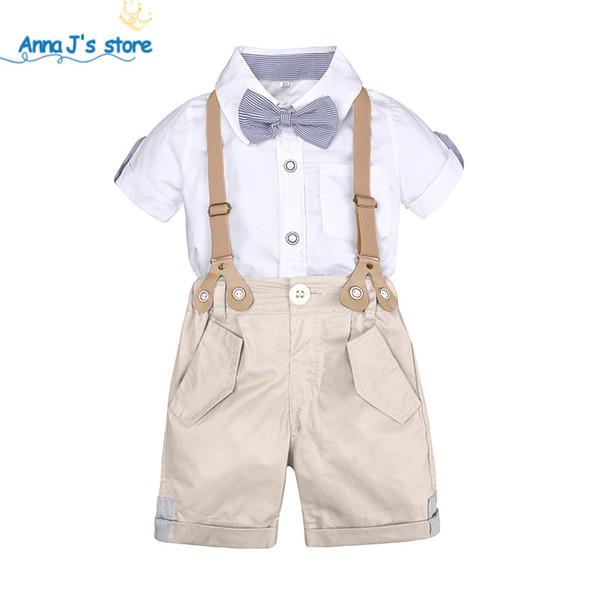 Conjunto de roupas para meninos verão kit para crianças Shorts Camisa 1 a 4 anos de idade roupas de bebê ternos Traje Do Casamento Formal TZ607