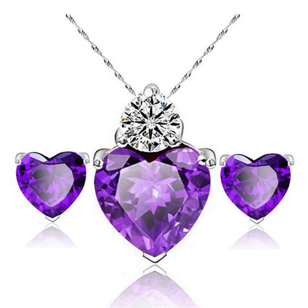 925 sterling silver necklace charm zircon heart-shaped love women's pendant ornaments silver earrings necklace jewelry set WCW099