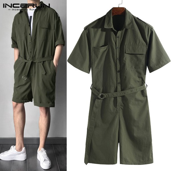 2019 Overalls Jumpsuit Cowboy Men Rompers Half Sleeve Casual Solid Belt Waist Men Cargo Set Shorts Coverall Playsuits One Piece