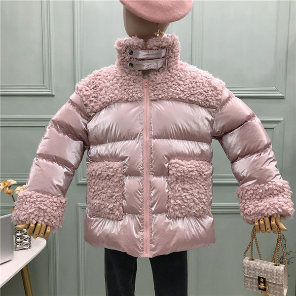2020 bright cotton coat new korean version of lambskin stitching long thick warm cotton coat 1219