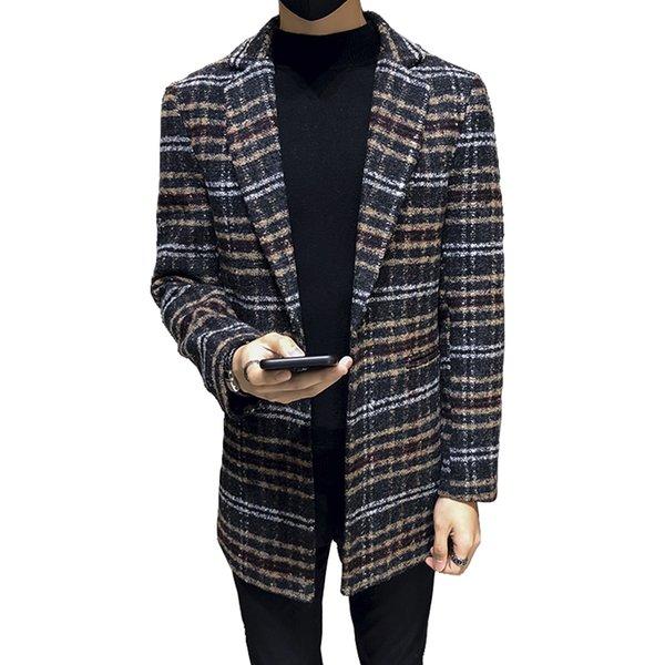 Trench coat dos homens 2018 outono e inverno de espessura de alta qualidade lã áspera flor Inglaterra treliça magro longo parágrafo misturas casaco