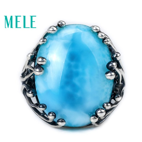 Natural Larimar 925 Silver Ring With Big Oval Cut 15x20mm Blue Stone For Both Women And Man Fashion Design Gem Fine Jewelry Q190416