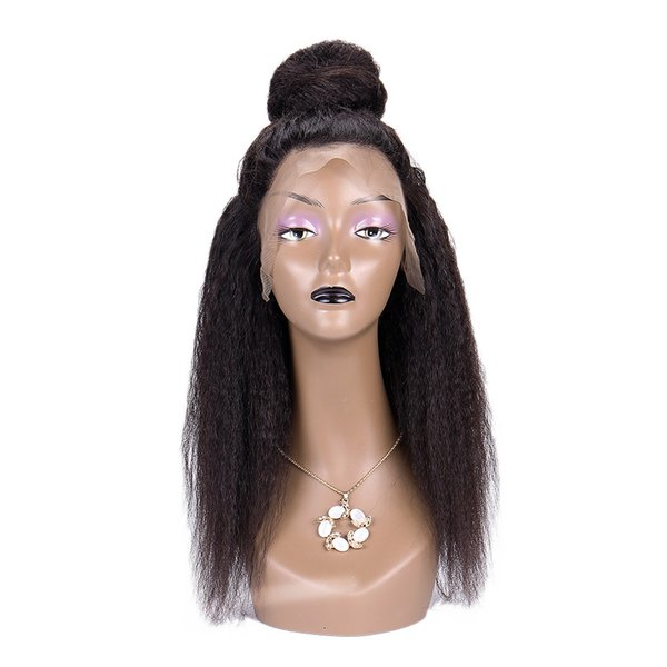 Peruvian Brazilian Yaki Kinky Straight Remy Human Hair Lace Front Wigs With Baby Hair Pre Plucked Bleached Knots Natural Color Wig For Woman