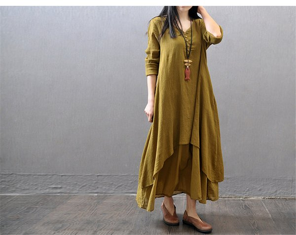 5ed8abf34363a 2019 Fashion Women Autumn Cotton Linen Boho Solid Long Maxi Dress Casual  Loose Long Sleeve V-Neck Dress Vestidos Plus Size Hot Wholesale