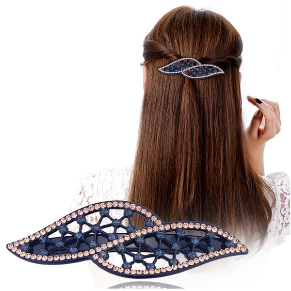 Fashion Butterfly Cellulose Acetate Rhinestone Wedding Hair Accessories Jewelry Ornament Clip Pin for Women Braids Collection