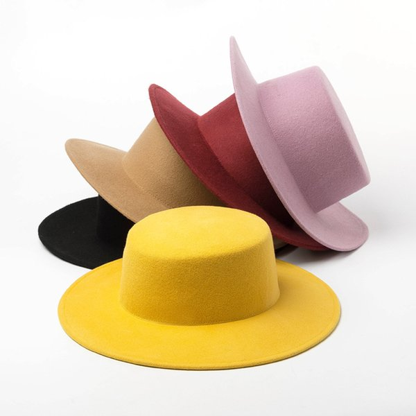 High Quality Round Flat Top Boater Wool Fedora Hats for Women Ladies Wide Brim Solid Color Party Formal Hat Felt Gambler Cap