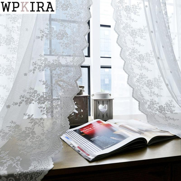 2019 Lace Curtains Kitchen Window Rustic Home Decor White Sheer Curtains  Flower Pattern Short Tulle Drapes Single Panels S279&30 From Dracaenor, ...