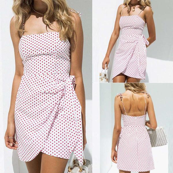 Women Fashion Loose Sleeveless Dot With Sashes Plus Size Dot Strapless Bandage Sleeveless Off Shoulder Fork Dress
