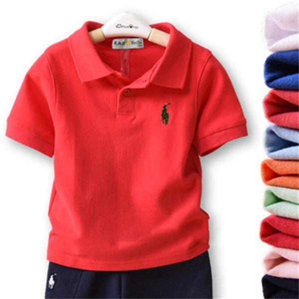 2019 Moda Çocuklar Polo t Gömlek Çocuk Yaka Kısa kollu gömlek Erkek Giyim Markaları Tops Katı Renk Tees Kızlar Klasik Pamuk T gömlek