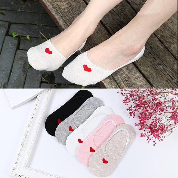 Spring Summer Hot Fashion Comfortable Ankle Short Boat Socks Women Breathable Soft Knitted Cotton Heart Pattern Socks