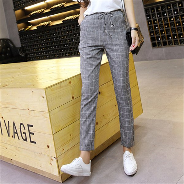 Pantalons simple capris Harem Plaid Pantalons Pantalons 2019 Nouveau Printemps Eté en vrac Pantalons simple taille élastique coton lin Dropshipping