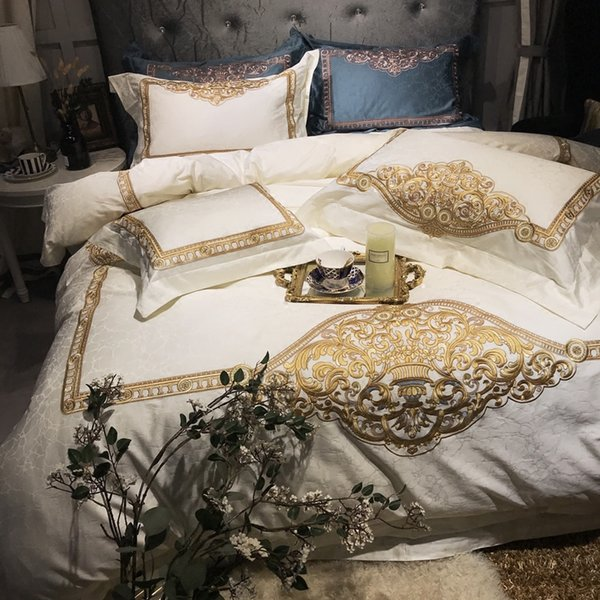 120S Egyptian Cotton white gold Embroidery Luxury Bedding Set 4pcs King Queen Wedding Bed Sheet Cover set Duvet Cover Pillowcase