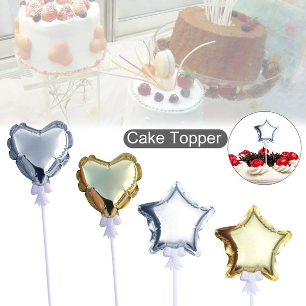 4 Inch 10CM Cake Topper Gold Silver Five - Pointed Star Love Automatic Inflatable Ball Cake Top Hat Party Decoration