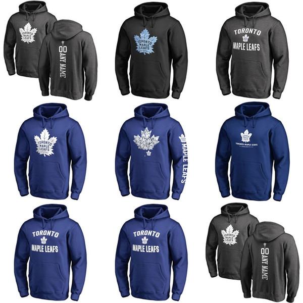 Heißer Verkauf Benutzerdefinierte Mens Womens Kinder Toronto Maple Leafs Günstige Beste Qualität Stickerei Logo Schwarz Blau Eishockey Hoodies mit Jeder NameAny