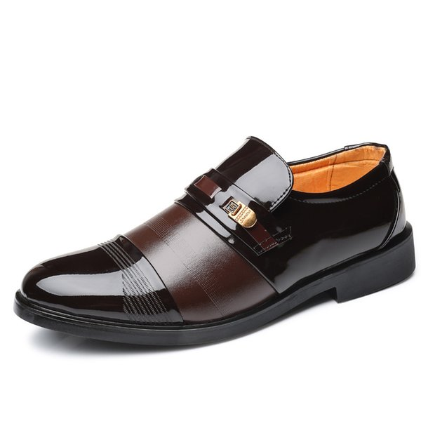 Pointed Toe Man Leather Shoes Black Brown Size 38-44 Brand Men Oxfords Business Office Formal Dress Shoes