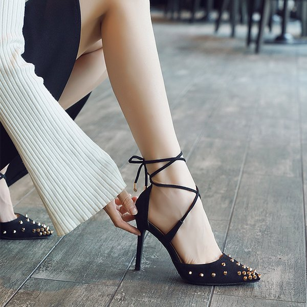 Fairy2019 High-heeled Sharp Autumn Crossing Bandage Fine With Cavity Single Shoe Rivet Wedding Sexy Women's Shoes Tide