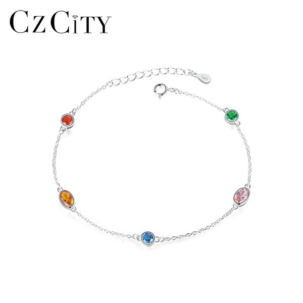 CZCITY 925 Sterling Silver Chain & Link Bracelets for Women Fine Jewelry Party Colorful Topaz Pulseira Femme Silver SB0070
