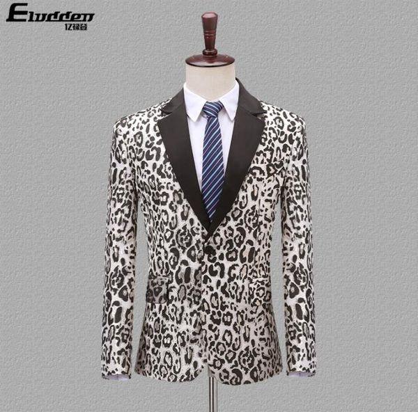 Coréen costume Blazer hommes marié motif léopard des hommes de mariage danse convient scène style chanteur costume star habillement habit formel