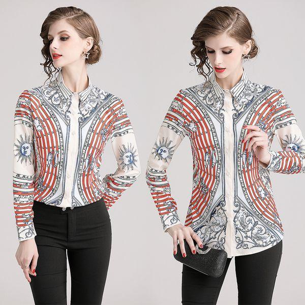 Luxus Frühling Herbst Runway Damenmode Vintage Court-Style Blusen Shirts Schöne Bürodame Sexy Slim Elegant Plus Size Shirts Tops