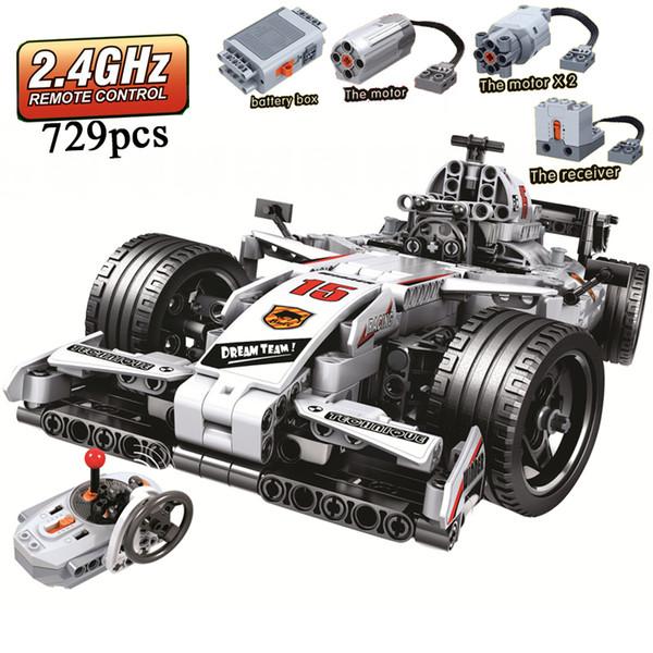 Moc F1 Voiture De Course Télécommande 2.4 GHz Technique Avec Moteur Boîte 729 pcs Blocs de Construction Brique Créateur Legoinglys Jouets Pour ChildrenMX190820