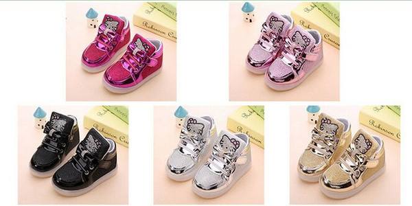 Girls shoes baby Fashion Hook Loop led shoes kids light up glowing sneakers little Girls princess children shoes with light