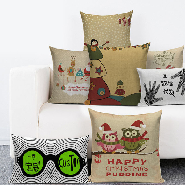 Admirable Christmas Throw Pillow Covers Fall Decorative Couch Pillow Case Cotton Linen Autumn Santa Claus Reindeer For America Sofa Couch Bed And Car Pink Creativecarmelina Interior Chair Design Creativecarmelinacom
