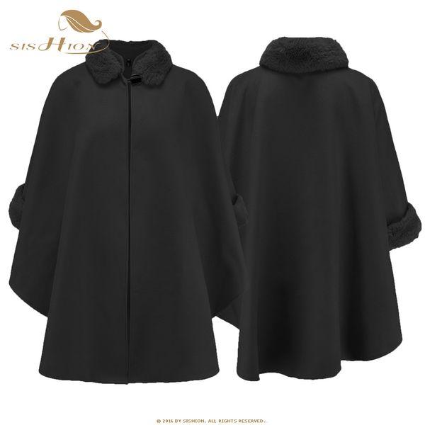 SISHION New 2019 Autumn Winter Womens Cloak Fur Collar Plus Size QY0329 Wool Blends Coat Long Coats Outerwear