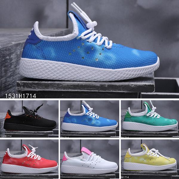 Cheap Human Race Running Shoes kids Women Pharrell Williams HU Runner Yellow Black White Red Green Grey Blue Sport Sneaker Size 24-35