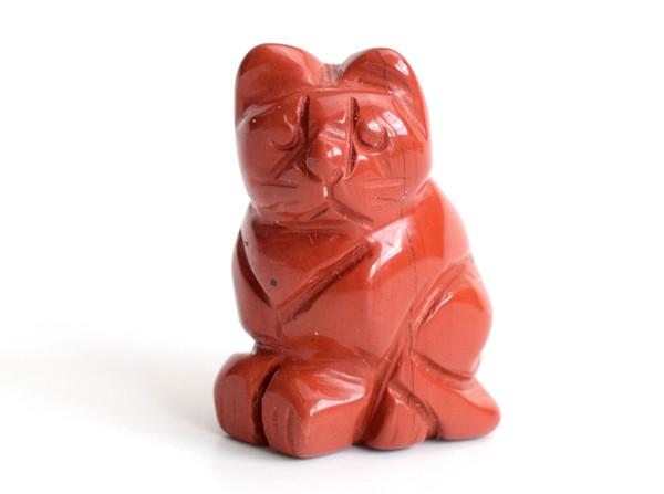 1.5 POLEGADAS Altura Pequeno Tamanho Natural Jasper Vermelho Esculpido Cristal Reiki Cura Sorte Bonito Estátua Do Gato