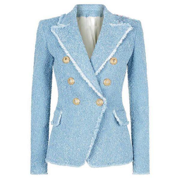 Clássicos europeus 2019 double breasted tassels casaco blazers Moda slim fit casaco mulheres jaquetas Designer Fashion Week Suit Jacket