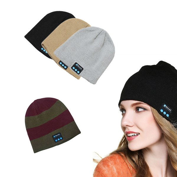 2019 Unisex Soft Warm Beanie Hat Wireless Bluetooth Smart Cap Headphone Headset Speaker Mic with 10 Colors