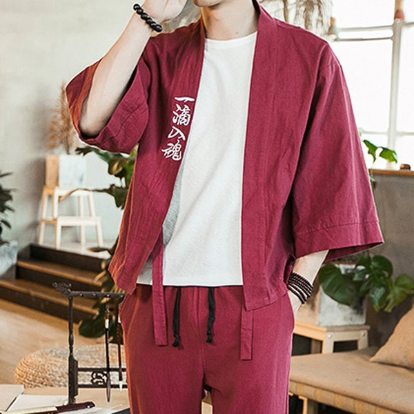 2019 Summer New Men Shirt Fashion Mens Cardigan National Print Loose Jacket Yukata Coat Baggy Tops Summer Cotton Linen Men shirt